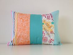 Patchwork Pillow Cover, Floral, Lumbar Pillow, 12x16 Inches, Teal, Orange, Yellow, Nursery, Living Room, Girls