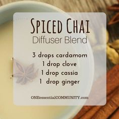 spiced chai diffuser blend PLUS recipes for 20 fall diffuser blends -- easy…