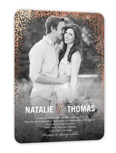 Stunning Duo Wedding Invitation, Rounded Corners, Rosegoldfoil