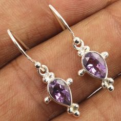 Little Cute Earrings Natural AMETHYST Pear Gemstones 925 Sterling Silver Jewelry #Unbranded #DropDangle