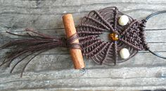 handmade necklace/ macrame owl/ cinnamon/ K.ompo.S- χειροποίητο κόσμημα
