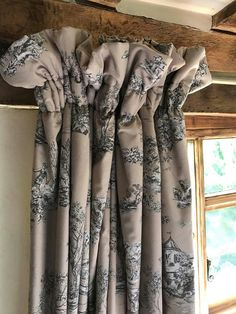 Ruffle Shirrred Drapery #2 Window Screens, Window Coverings, Window Treatments, Cottage Curtains, Cottage Windows, Curtains With Blinds, Valance Curtains, Bedroom Blinds, Small Cottage Interiors