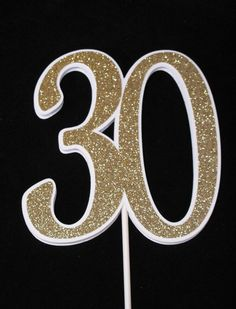 30th Birthday Centerpiece Pick Cake Topper by twopaperpals on Etsy