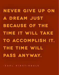 Never give up on a DREAM just because of the time it will take to accomplish it. The time will pass anyway! Belief Quotes, Just Because, Giving Up, Never Give Up, Truths, Inspiration, Biblical Inspiration, Quotes About Faith, Letting Go