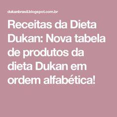 Receitas da Dieta Dukan: Nova tabela de produtos da dieta Dukan em ordem alfabética!