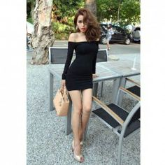 $7.66 New Arrival Sexy Off-the-Shoulder Black Mercerized Cotton Mini Dress For Women