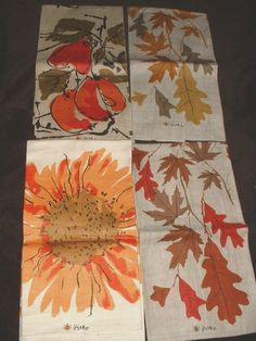 4 VINTAGE Vera Neumann Tea Towels FALL Leaves, Sunflower, Abstract Fruit BRIGHT
