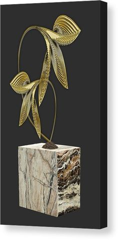 Leaf Canvas Print featuring the mixed media Golden by Marvin Blaine