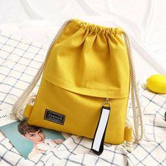 Canvas Backpack Bag Portable Casual String Backpack for Women Shoulder Bag Diy Backpack, Jute Bags, Casual Bags, Canvas Backpacks, String Bag, Canvas Shoulder Bag, Handmade Leather, Fabric Purses, Handmade Bags