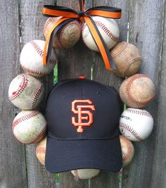 San Fransisco Giants Baseball Love Wreath!!! I want to make this!!