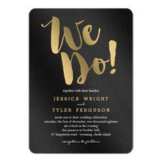 luxury wedding theme // brush stroke wedding invitation with chic stripes // modern black and gold wedding theme invitations at http://www.zazzle.com/black+and+gold+wedding+invitations?pst=256060885385238356&rf=238395237176455059