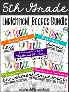 **** Save 25% by purchasing the bundle*****This resource can also be found in my HUGE 3rd, 4th, and 5th grade math enrichment boards bundle. This resource can be found in my FIFTH GRADE MATH HUGE BUNDLE OF RESOURCES Hi teacher friends, Included in this pack is the math enrichment board I use for my fifth grade learners who have mastered any of our math concepts and are now ready for a challenge.
