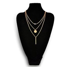Geometry Charms Choker Collar 3 Layers Gold Chain Necklace Round Circle  Letter I c1fa44575a2c2