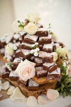 Is there anything more delicious than an entire tower of chocolate brownies? We just love this as an alternative to a traditional wedding cake... Don't you? www.wed2b.co.uk