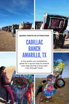 Cadillac Ranch, a quirky roadside stop near Amarillo, Texas, is a bright and fun public art installation, great for a quick stop to stretch your legs during a long road trip through Texas. #cadillacranch #Route66 #route66attraction