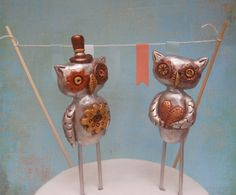 Silver and Gold Steampunk Owls cake topper  for your by indigotwin, $50.00