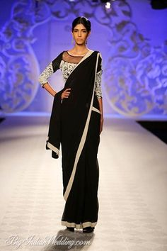 Varun Bahl plain black sari with embroidered blouse