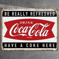 VINTAGE Coca Cola COKE METAL SIGN RETRO PLAQUE Kitchen GARAGE BAR PUB MAN CAVE