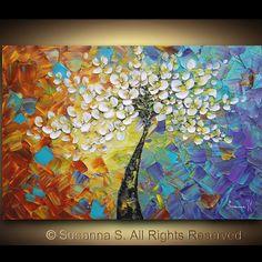 Gran arte contemporáneo abstracto flores árbol Impasto paisaje cerezo moderno espátula pintura ORIGINAL por Susanna 36 x 24