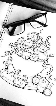 Cup full of cuteness Art Drawings Sketches Simple, Pencil Art Drawings, Kawaii Drawings, Cartoon Drawings, Easy Drawings, Cute Doodle Art, Doodle Art Designs, Doodle Art Drawing, Cute Art