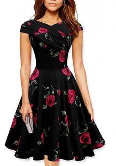 New Women Red Floral Pattern Short Sleeve Vintage Cotton Mini Dress