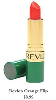 Revlon lipstick in Orange Flip. Just got this tonight + it's already my fave lipstick ever. The color is very Betty Draper.