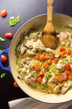 5. Creamy Basil and Tomato Chicken #paleo #dinner #recipes http://greatist.com/eat/paleo-recipes-easy-and-delicious-dinners