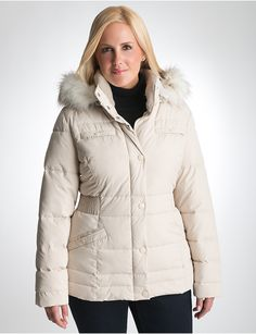 I have this in black! Love it! Full Figure Cinched Waist Puffer Coat by Lane Bryant | Lane Bryant