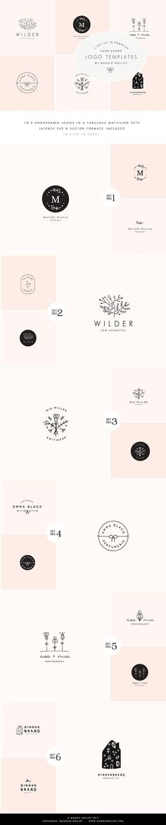 Feminine Premade Logo Bundle - Filled with 18 of the most elegant designs, each of these doodles was hand drawn in August 2017 so you can be assured they are totally fresh and new! The kit is made up of 6 main logo designs, each one of these is accompanied by two matching logo variations. Use them to flesh out a full rebrand for your business, or even six different businesses! By Maggie Molloy $15 #affiliatelink