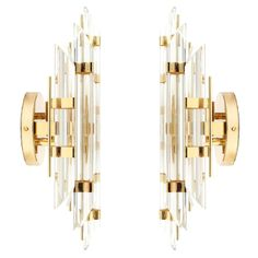 Pair of Venini Style Italian Murano Glass and Brass Sconces | From a unique collection of antique and modern wall lights and sconces at https://www.1stdibs.com/furniture/lighting/sconces-wall-lights/