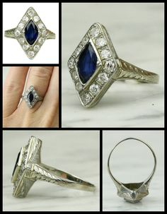 Art Deco Diamond and Sapphire White Gold Ring, circa 1920. An exquisite ring in every sense, this masterfully crafted original art deco piece features a deep blue marquise-cut natural sapphire surrounded by a shimmering halo of stunning, near-colorless old European-cut diamonds. Elaborate hand engraving adds interest and complexity to the gallery and shoulders.  Via 1stdibs.