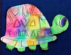 """Today kinder, and grade started their tissue paper turtles. We looked at """"Clover"""" and examined all of the shapes on . Plastic Binder, Smart Class, Silver Spray Paint, Liquid Watercolor, School Art Projects, Make Color, Black Paper, Tissue Paper, Early Childhood"""
