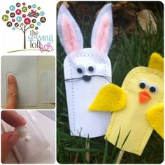 Collage Finger Puppet Small Easter bunny rabbit and yellow chick felt sewing idea