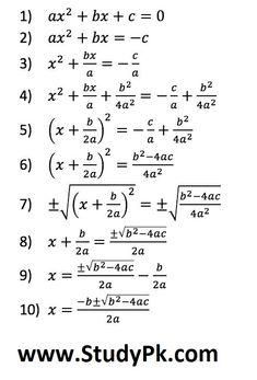 Math: Deriving the Quadratic Formula: Complete the Square to derive the Quadratic Formula Example Of A Quadratic Function Math Quadratic Function Math Term Definition The derivation of this… Gcse Maths, Math Formula Chart, Completing The Square, Math Tutorials, Algebra Worksheets, Physics And Mathematics, Math Vocabulary, Math Formulas, Math Notebooks