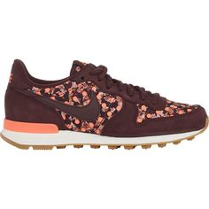 Nike Internationalist LIB QS Sneakers featuring polyvore, fashion, shoes, sneakers, sapatos, red, nike footwear, red flat shoes, lace up sneakers, red sneakers and floral sneakers