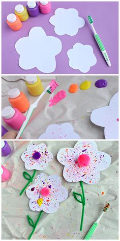 "Get messy and make these spring ""splatter"" flowers with the help of a toothbrush!"