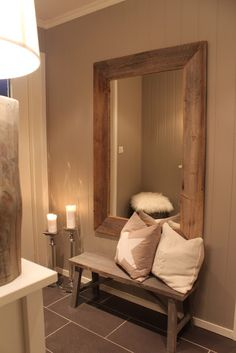 Wooden Bench, Wooden Mirror, Wooden Lamp, Candles