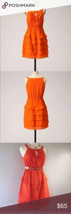 Orange anthropologie dress. lightly worn! Very small tear at seam at neck (see in close up pic) Size small. Anthropologie Dresses Midi