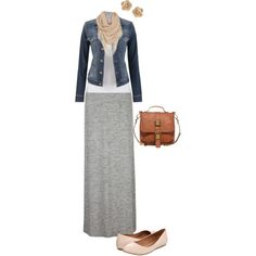 """go to"" casual outfit, a comfy cotton skirt, solid top and jean jacket"