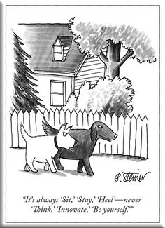 New Yorker Cartoon Magnet - It's Aways Sit Stay Heel