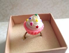 Miniature Cupcake Adjustable Ring. Birthday Treat. by MintMarbles, $10.00