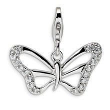 CZ Polished Butterfly Charm in Sterling Silver