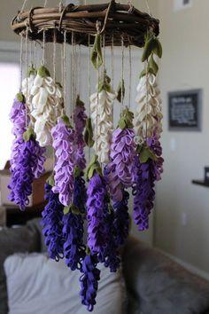 Handmade Home Decor Paper Flowers Diy, Felt Flowers, Flower Crafts, Fabric Flowers, Purple Flowers, Handmade Flowers, Deco Champetre, Diy And Crafts, Paper Crafts