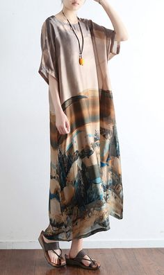 new khaki casual print silk dresses patchwork plus size summer dresses o neck maxi dress