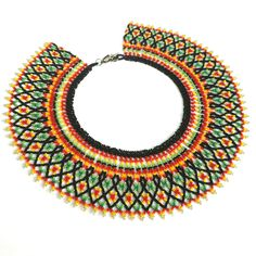 Huichol necklace Seed beads jewelry in mexican ethnic boho style for women Colorful lace collar Beadwork folk jewellery Gift for her Beads Jewelry, Diy Jewelry Necklace, Lace Necklace, Seed Bead Necklace, Jewelry Crafts, Seed Beads, Beaded Bracelets, Necklace Ideas, Tribal Necklace