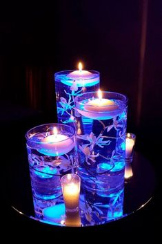Blue Wedding Centerpieces, Floating Candle Centerpieces, Floral Centerpieces, Wedding Table, Our Wedding, Dream Wedding, Wedding Ideas, Quince Decorations, Wedding Decorations