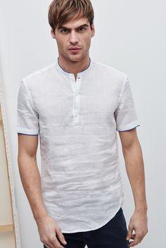 Trimmed Mandarin Collar Linen Shirt - shirts   Adolfo Dominguez shop online