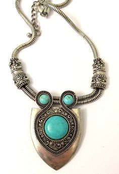 46fe0bc71 Silver Look Turquoise Color Stones Shield Shape Pendant Necklace Great  Details #Unbranded #Name Bold