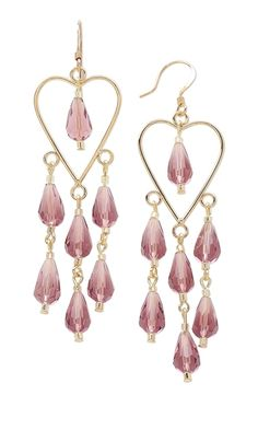 Valentine's Day #Earrings with Celestial Crystal Beads and Heart Drops.  Design 638C - Fire Mountain Gems and Beads