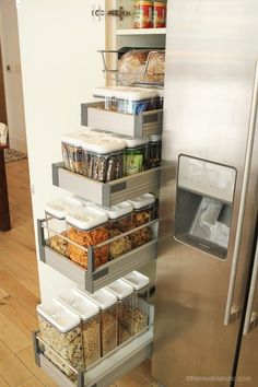 Pantry Organization   Keep all your food organized and fresh with clear containers and a little bit of organization via Remodelaholic.com